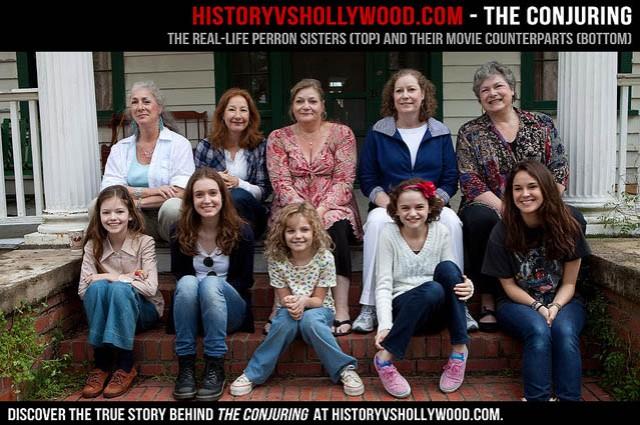 Le vere Perron Sisters (dietro) e le relative attrici (davanti)